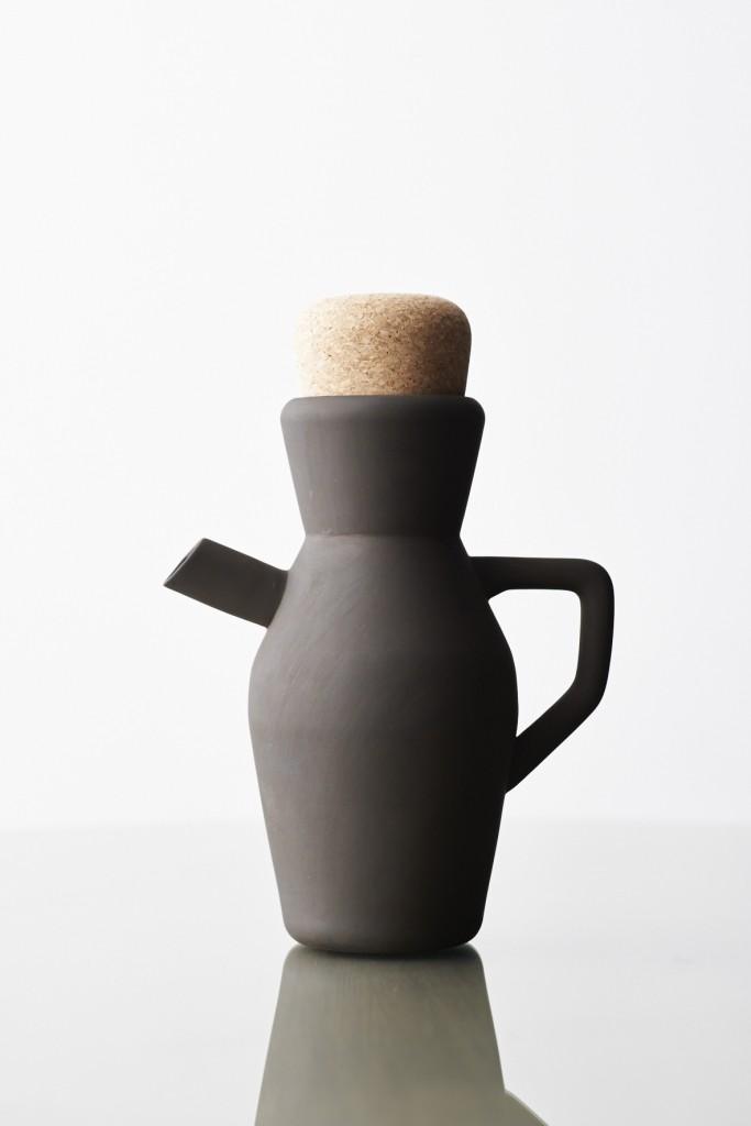 Black Clay Jug with Cork Stopper by Laurie Wiid Van Heerden