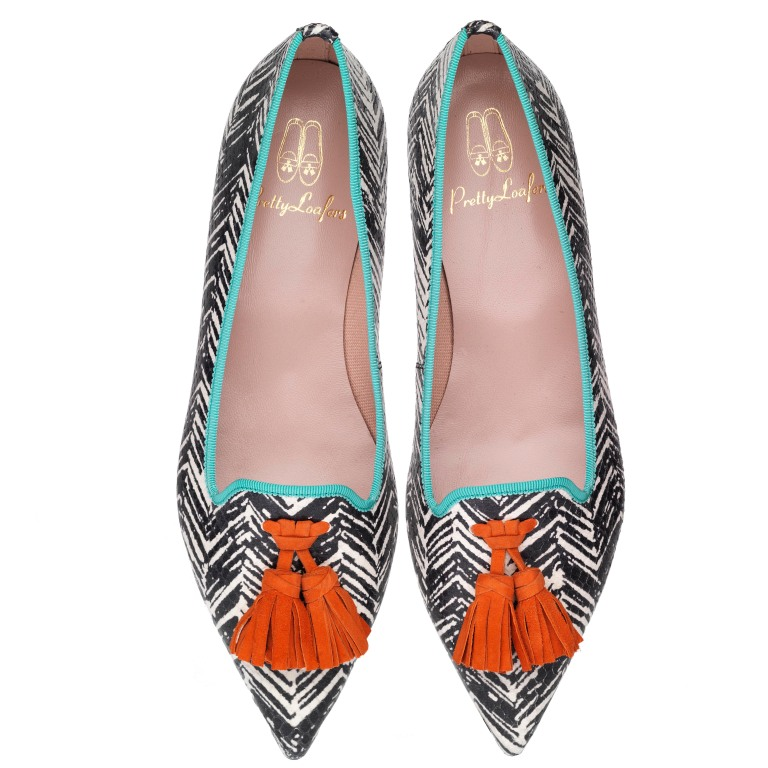 Ella graffiti print with coral tassels - pair