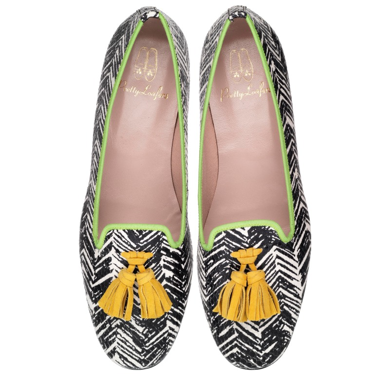Faye graffiti print with yellow tassels green trim - pair