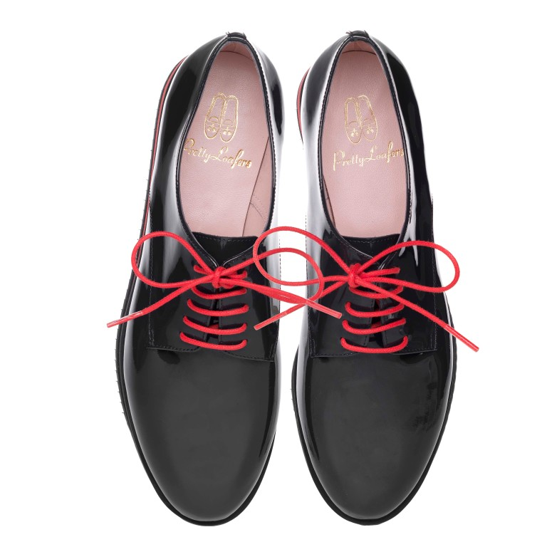 Charlize black patent lace up with red sneaker sole and laces - pair_ PVP 179