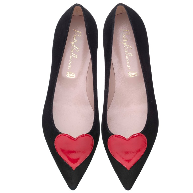 Ella red heart black suede - pair