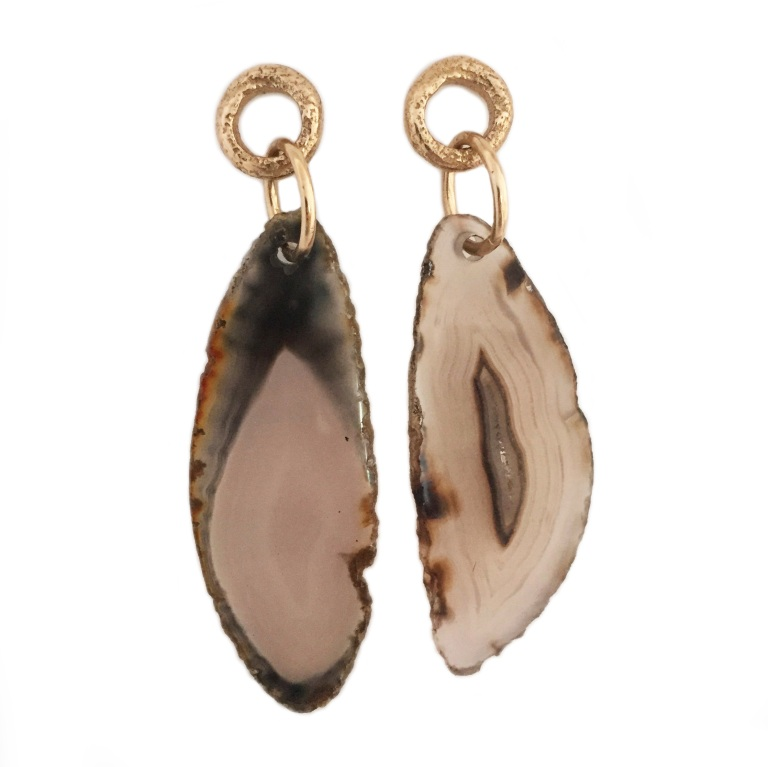 Agate Rough Chain Bronze Earrings