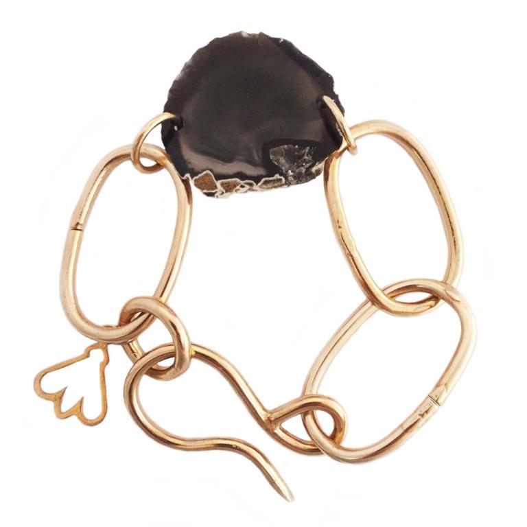 Bronze Chunky Chain Agate Charm Bracelet