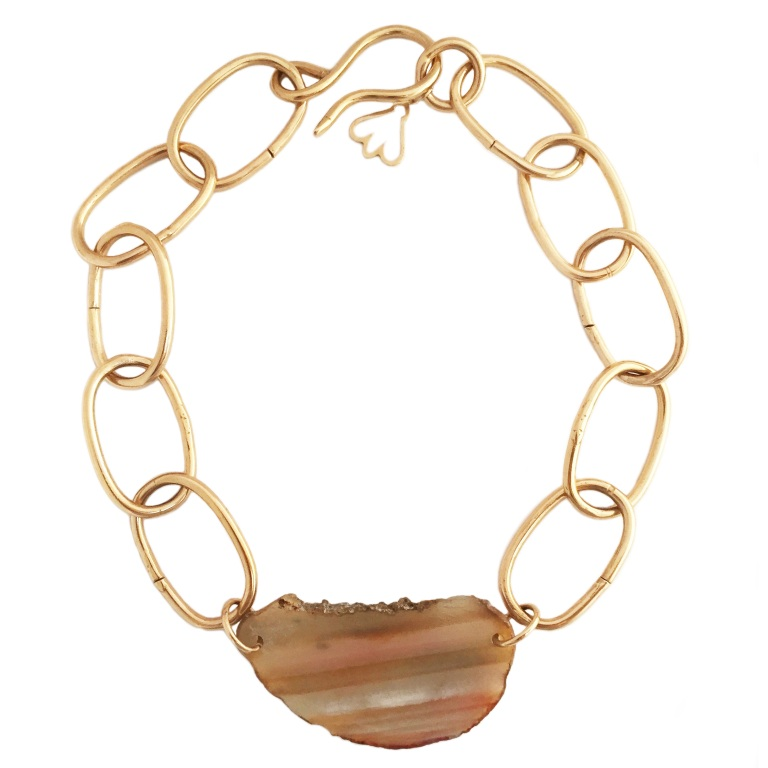 Bronze Chunky Chain Agate Necklace