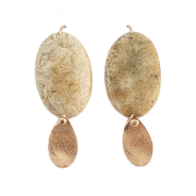 Fossil Coral Bronze Seaweed Leaf Earrings