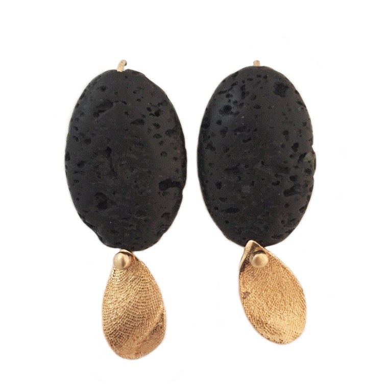 Lava Rock Bronze Seaweed Leaf Earrings