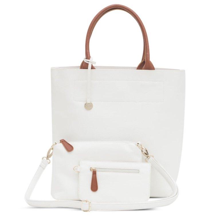 Gia 3-in-1 Handbag White & Turquoise Lining